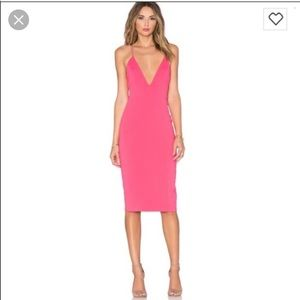 Jay Godfrey Plunge Neck Dress in Coral
